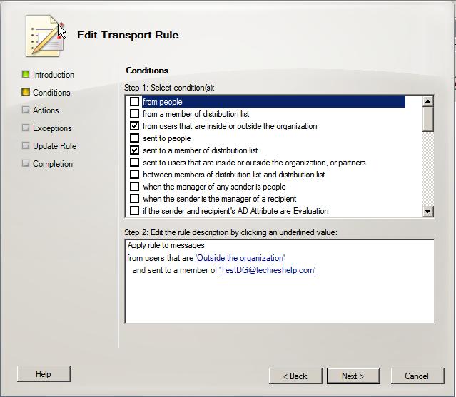 stop users reciveing external mail exchange 2010