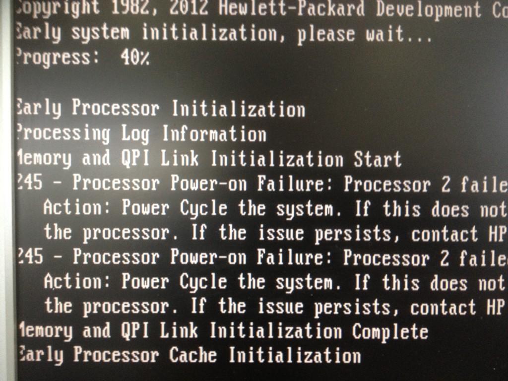 Processor Power-on failure