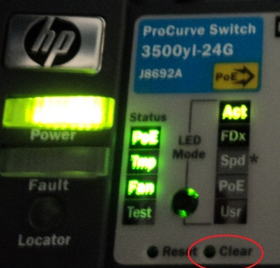 Password reset Hp Procurve