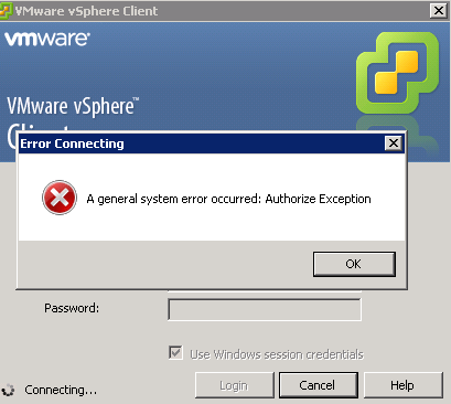 A General System Error Occurred.Authorize Exception