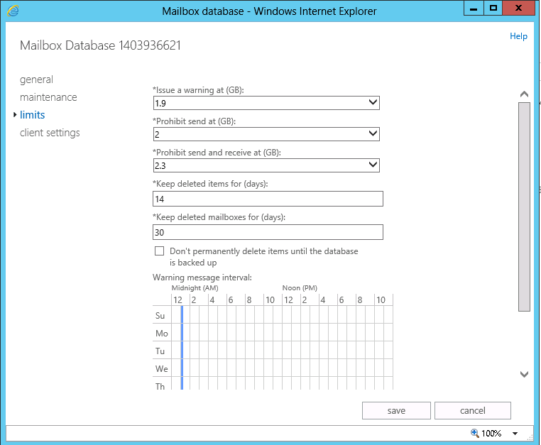 How To Configure Exchange 2013 / 2016 Mailbox Limits