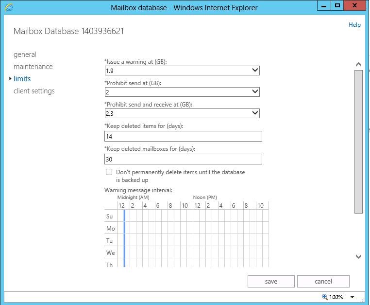 Configure Exchange 2013 mailbox limits