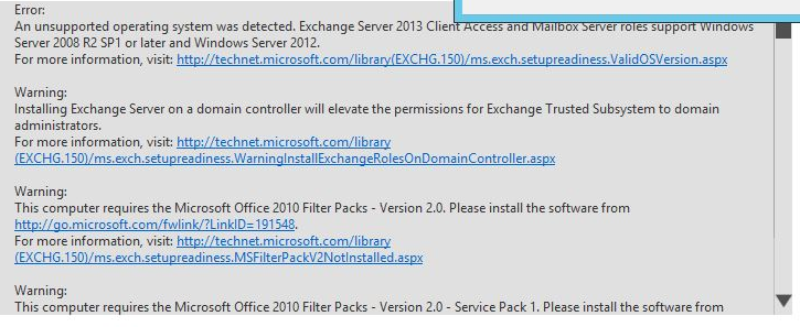 Exchange 2013 - Error Unsupported OS detected