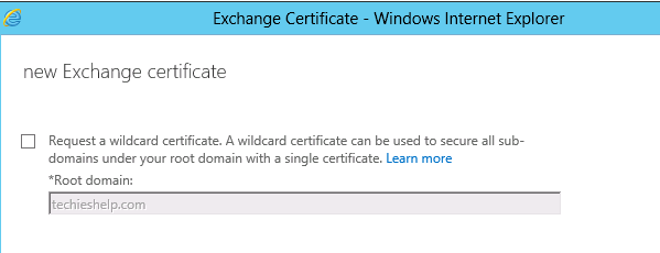 Exchange 2013 wildcard certificate