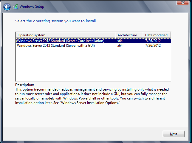 Server 2012 core or gui