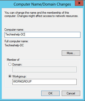 change server name