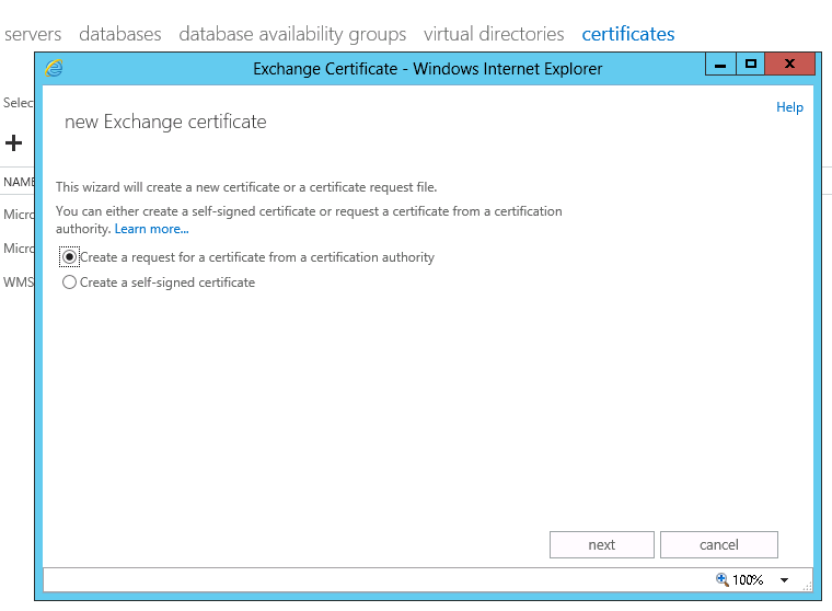 create a new certificate Exchange 2013
