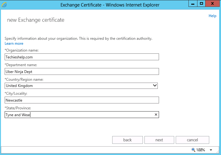 enter exchange 2013 certificate details