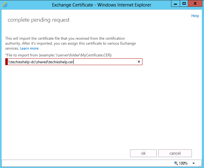 exchange 2013 answer cert request