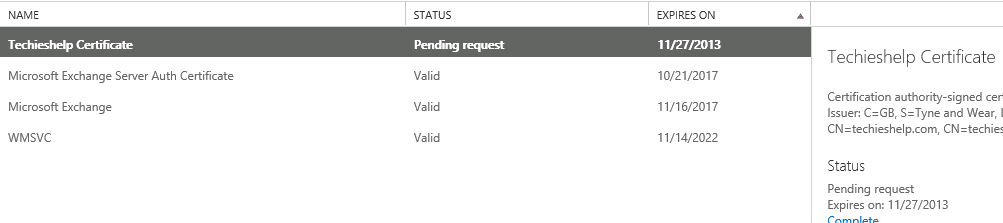 exchange 2013 pending request