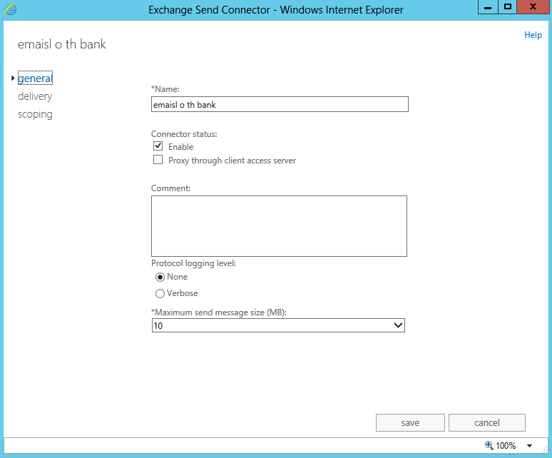exchange 2013 send connector size