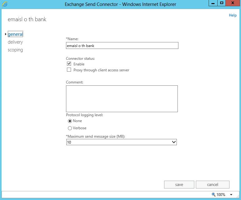 exchange 2013 send connector size