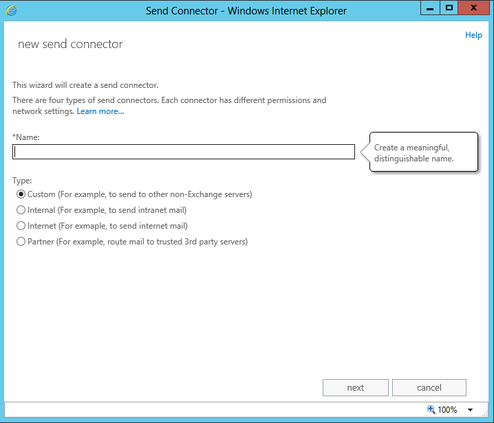 new exchange 2013 send connector