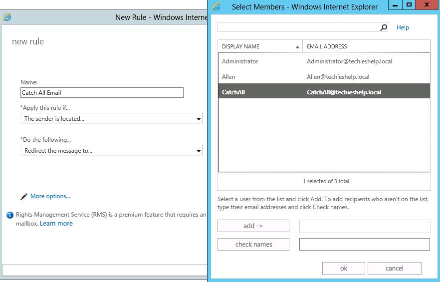 redirect exchange 2013 email if no recipient