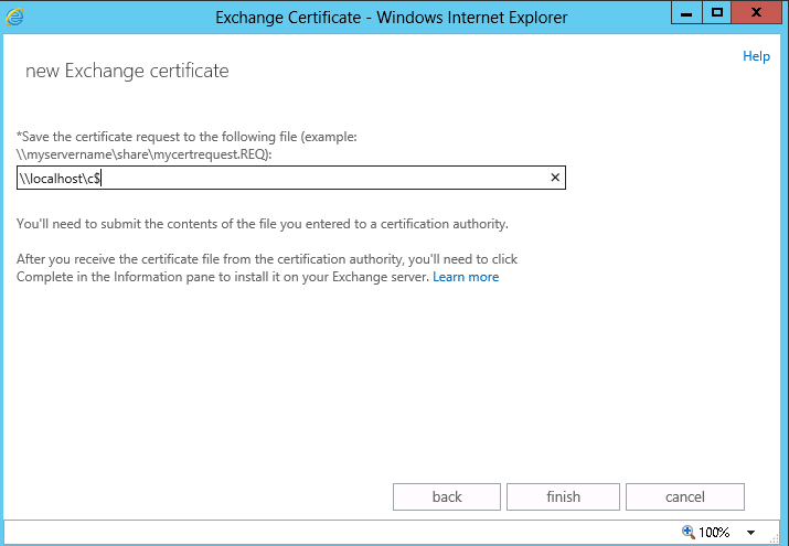 save exchange 2013 certificate request