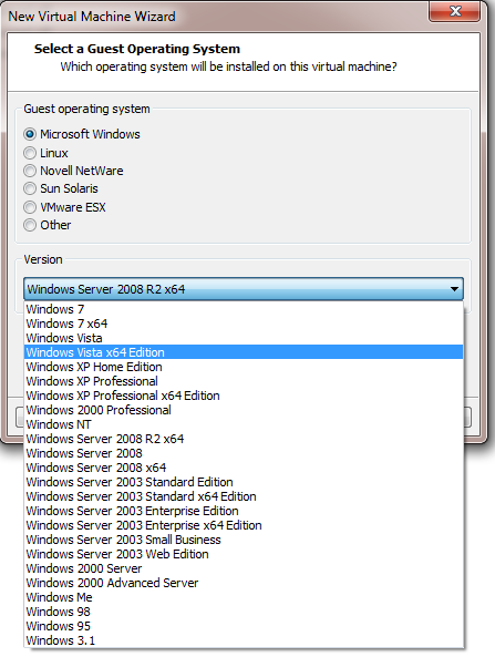 select os vmware workstation