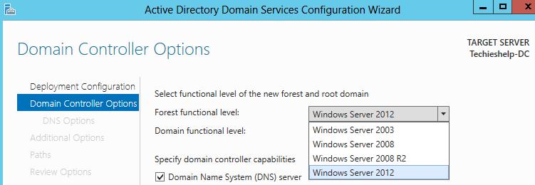 server 2012 functional level