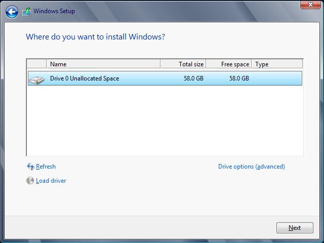 server 2012 select drive