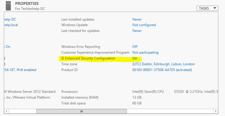 turn off server 2012 IE Enganced Security Configuration