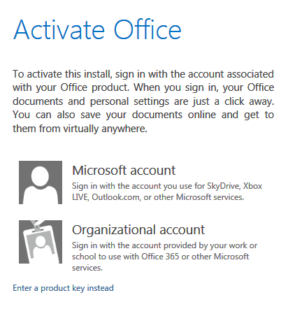 Activate office 2013 online