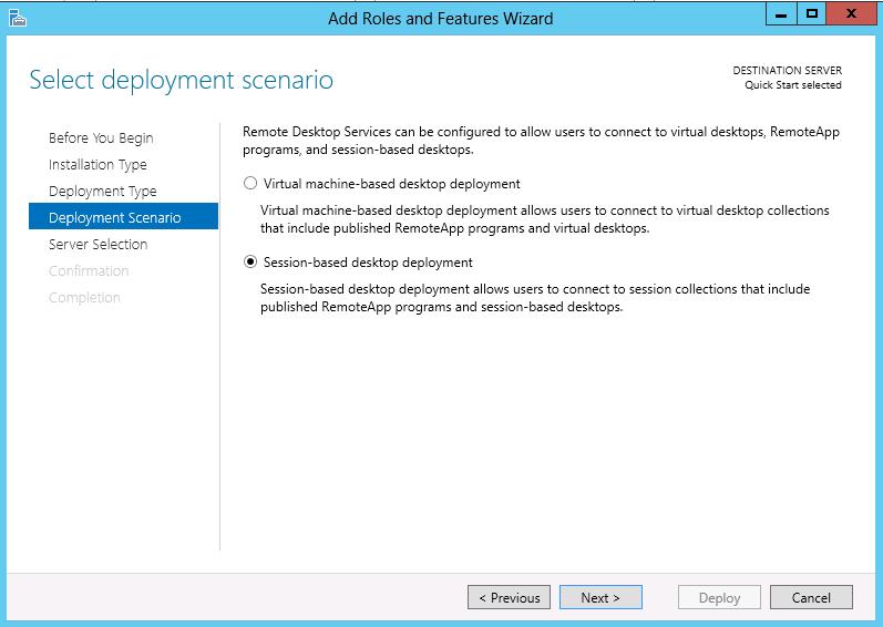 Remote desktop session based