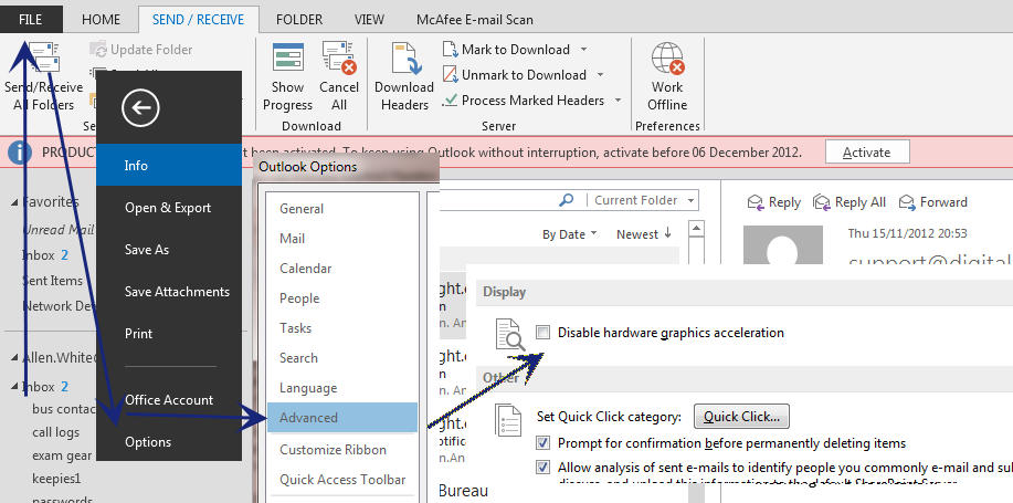 office 2013 applications crash on startup