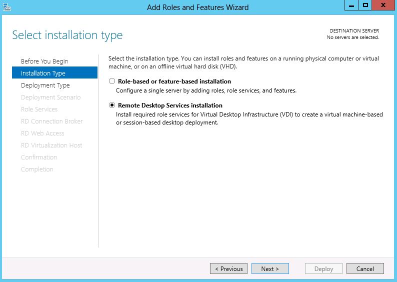 remote desktop services installation