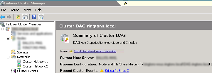 The Cluster Network Name is Not Online
