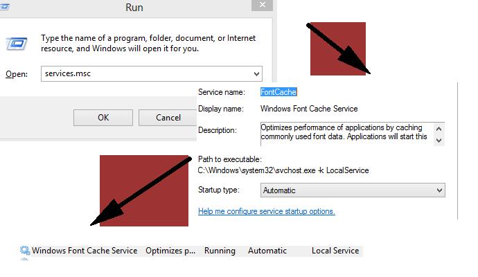 Windows font cache
