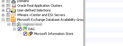 cannot expand dag in backup exec