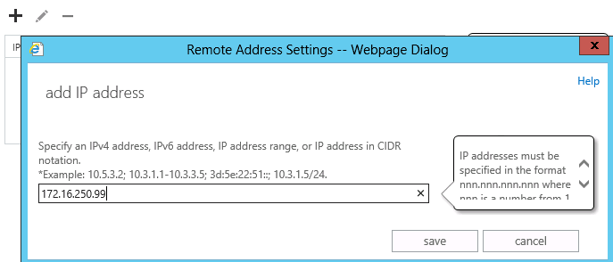 specify ip address of server to relay