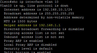 confirm cisco ip helper address