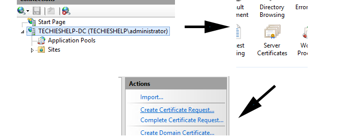create certificate request iis7