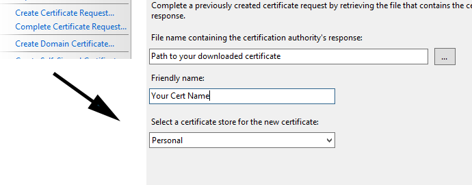 iis7 answer certificate request