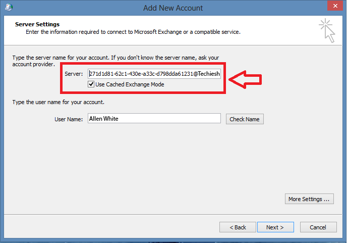 Exchange 2013 Outlook Client Shows Numbers Instead of Server
