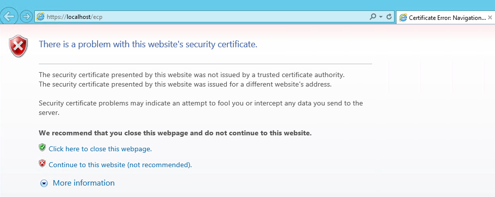 there is a problem with the websites security certificate