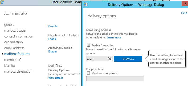 exchange 2013 leave copy of email in forward mailbox