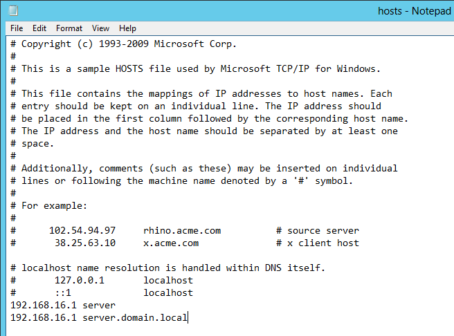 edited host file