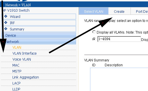 hp 1910 create vlan.