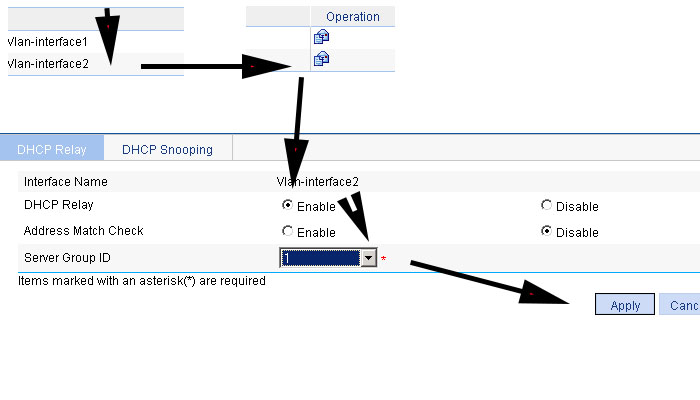 setup DHCP relay HP V1910