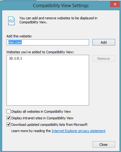 ie10 compatiblity mode