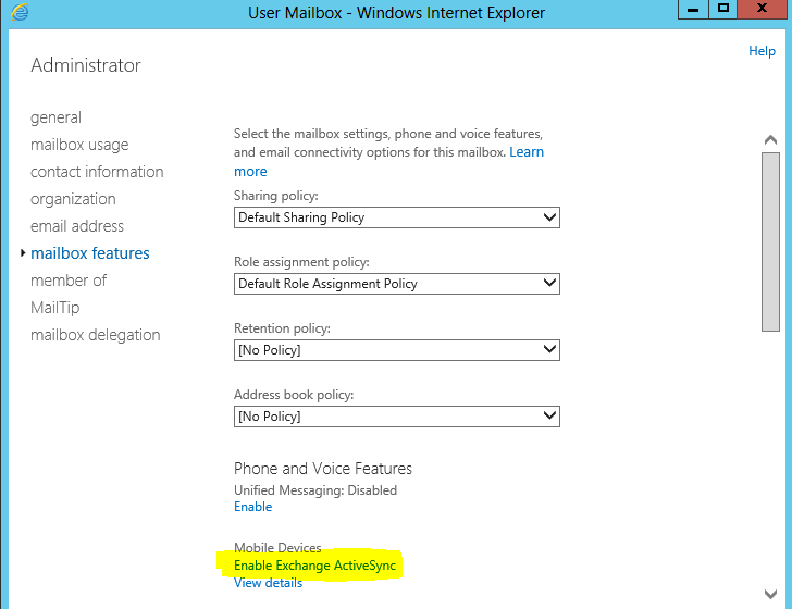 manage mobile device access in Excahgen 2013