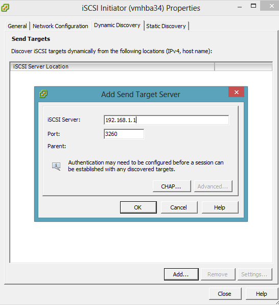 vmware add iscsi address