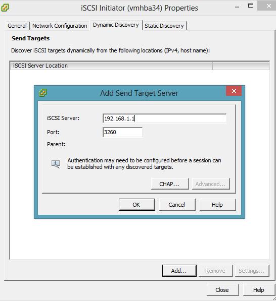 vmware add iscsi address