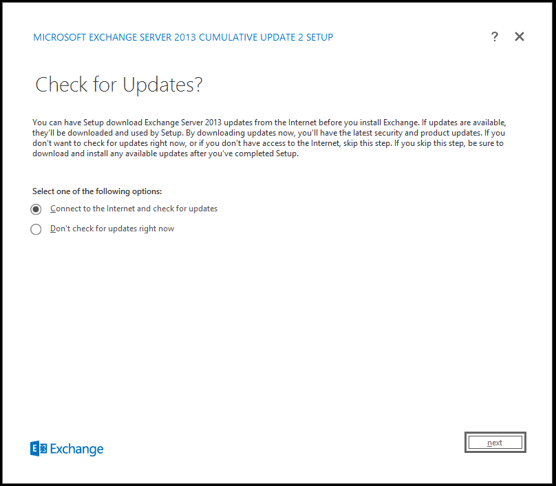 Exchange 2013 cu2 check for updates