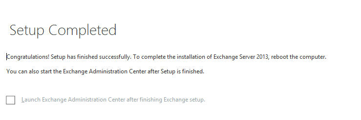 Exchange 2013 cu2 completed