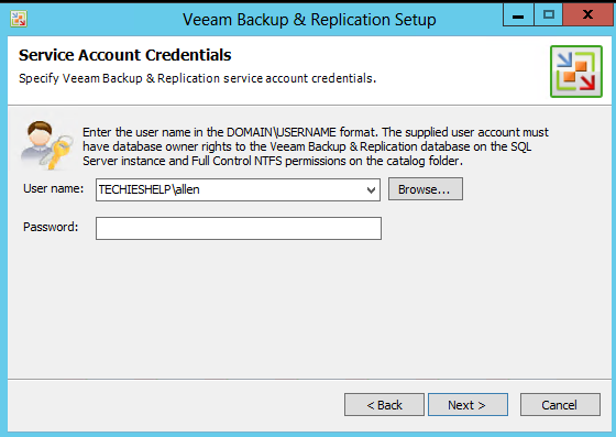 Veeam service credentials