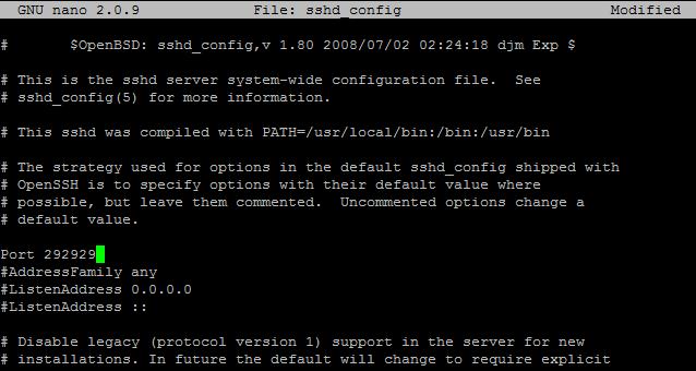 change ssh port in linux