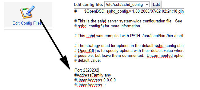 change ssh port in webmin