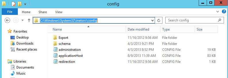 corrupt application host config server 2012